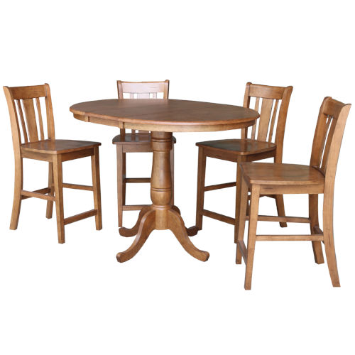 San Remo Distressed Oak 35-Inch Round Extension Dining Table with Four Stool