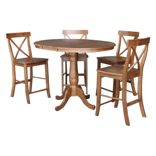 Distressed Oak 35-Inch Round Extension Dining Table with Four X-Back Stool