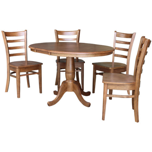 Emily Distressed Oak 29-Inch Round Extension Dining Table with Four Chair