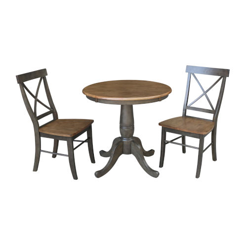 Hickory and Washed Coal 30-Inch Round Top Pedestal Table With Two X-Back Chairs, Three-Piece