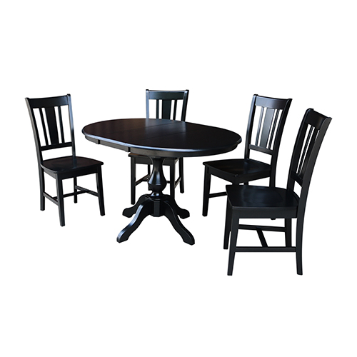 International Concepts Black 36 Inch Round Dining Table With 12 Inch Leaf And Four San Remo Chairs