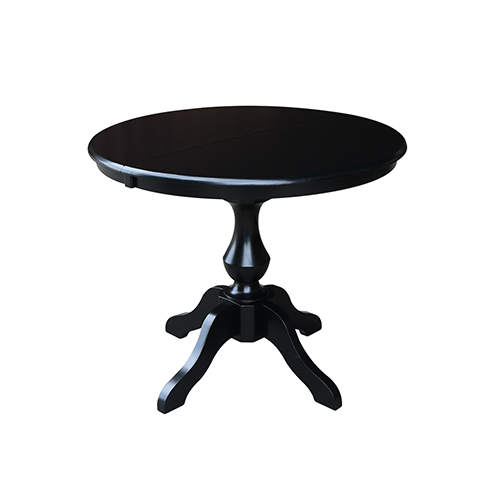 Black 36-Inch Round Dining Table with 12-Inch Leaf