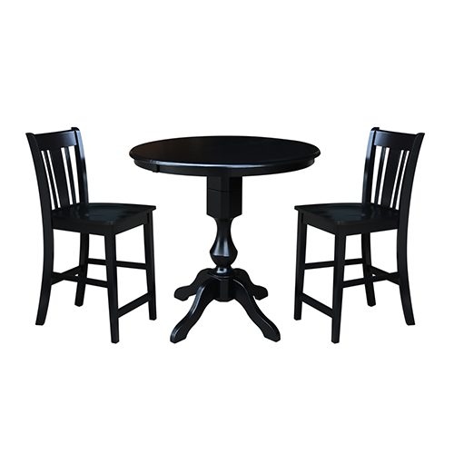International Concepts Black 36-Inch Counter Height Table with 12-Inch Leaf and Two San Remo Stools