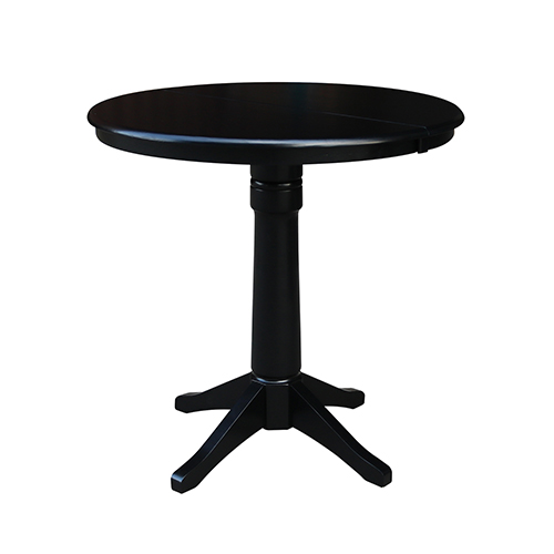 Black 36-Inch Straight Pedestal Counter Height Table with 12-Inch Leaf