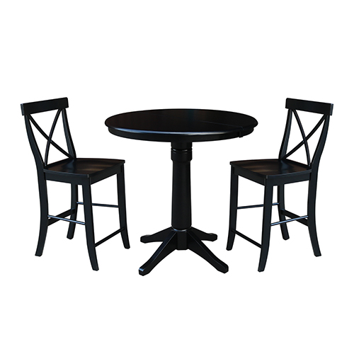 Black 36-Inch Straight Pedestal Counter Height Table with 12-Inch Leaf and Two X-Back Stools