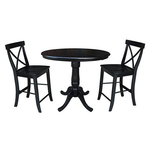 Black 36-Inch Curved Base Counter Height Table with 12-Inch Leaf and Two X-Back Stools