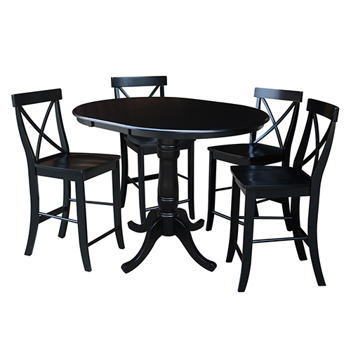 International Concepts Black 36-Inch Counter Height Table with 12-Inch Leaf and Four X-Back Stools