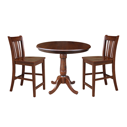 Espresso 36-Inch Curved Pedestal Counter Height Table with Two San Remo Stools