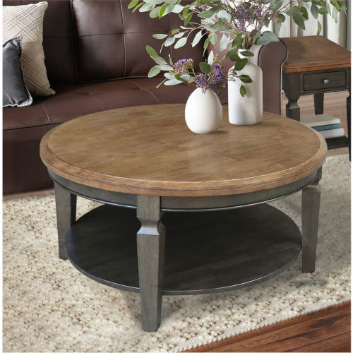 Vista Hickory and Washed Coal Round Coffee Table