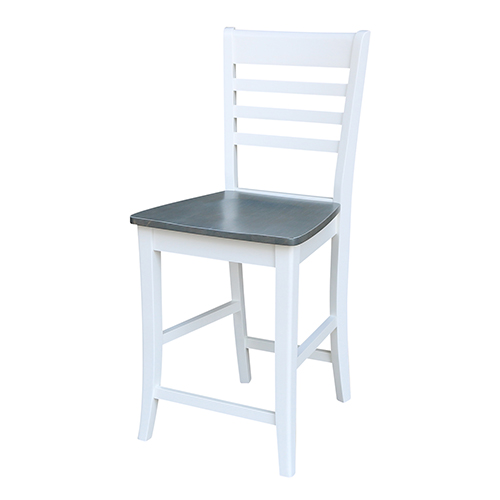 Roma White and Heather Gray Counter Height Stool