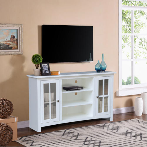 White 48-Inch TV Stand with Two Door