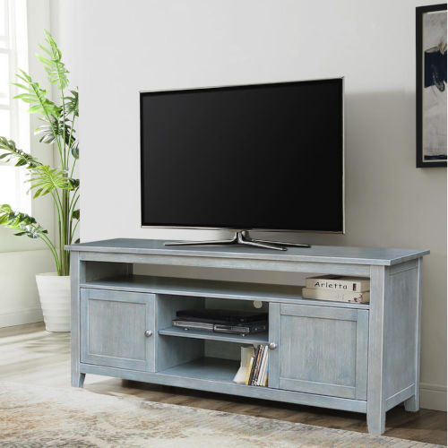 Antique Heathered Gray 57-Inch TV Stand with Two Door