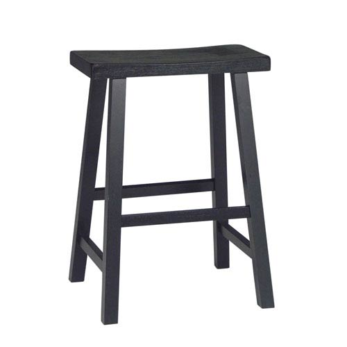 International Concepts Black 24 Inch Saddle Seat Wood Bar Stool