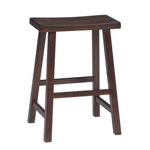 Walnut 24-Inch Saddle Seat Wood Bar Stool