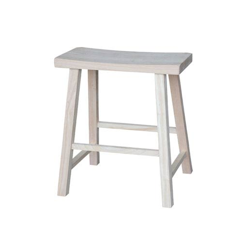 International Concepts 24-Inch Unfinished Wood Saddle Seat Stool