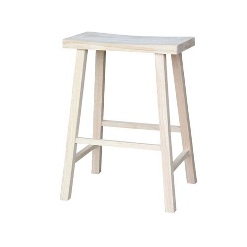 29-Inch Unfinished Wood Saddle Seat Stool