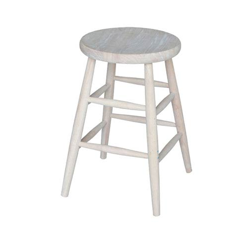24-Inch Unfinished Wood Scooped Seat Stool