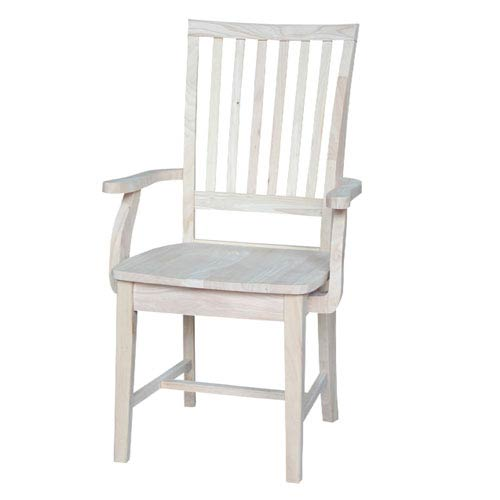 International Concepts Mission Side Dining Arm Chair Unfinished