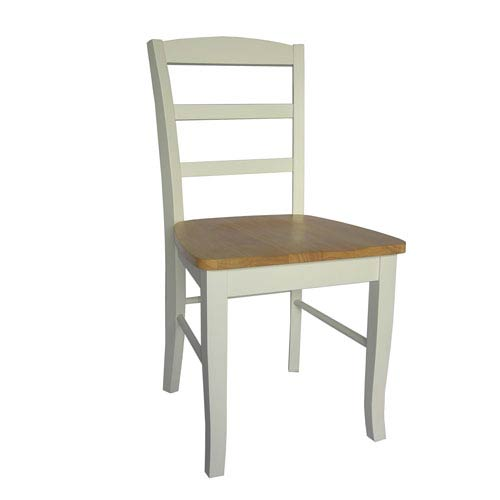 Madrid Natural/White Ladder Back Chair, Set of Two