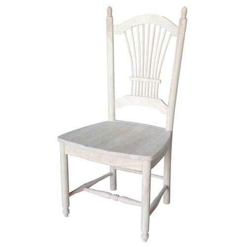 International Concepts Dining Chair Unfinished Sheaf Back, Set of Two