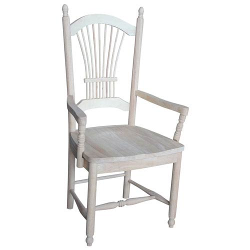 International Concepts Dining Arm Chair Unfinished Sheaf Back