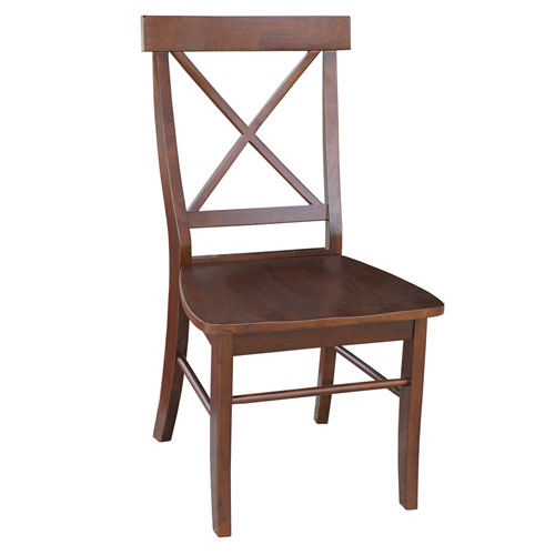 Dining Chair Espresso X Back Wooden Seat, Set of Two