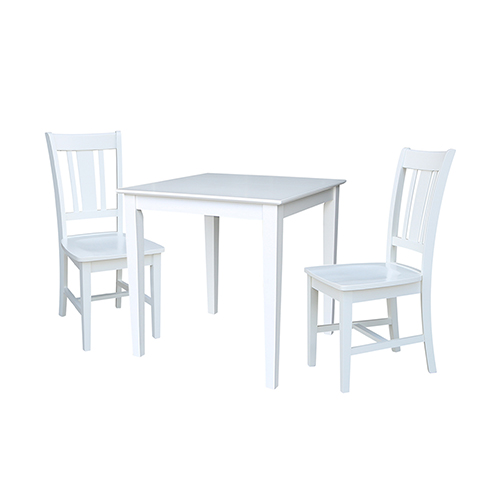 Solid Wood Dining Table with Two San Remo Chairs in White - Set of Three