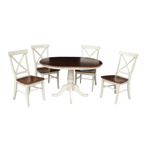Antique Almond and Espresso 36-Inch Round Extension Dining Table with 4 X-Back Chairs