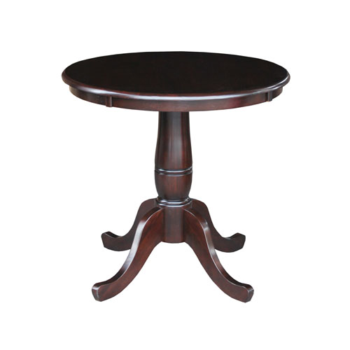 30-Inch Tall, 30-Inch Round Top Rich Mocha Pedestal Dining Table
