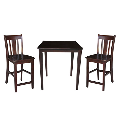 Dining Essentials Rich Mocha 30 Inch x 30 Inch Gathering Height Dining Table with Two San Remo Stools