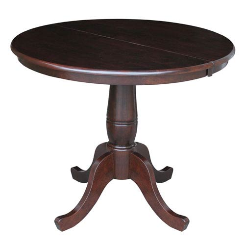International Concepts Rich Mocha 36-Inch Round Pedestal Dining Table
