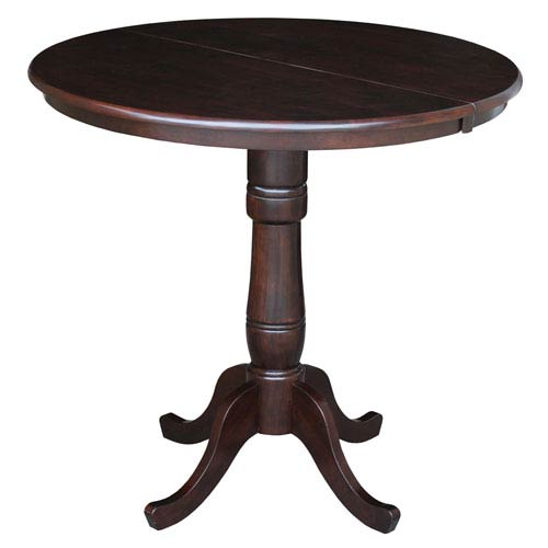 Rich Mocha 36-Inch Round Pedestal Counter Height Table