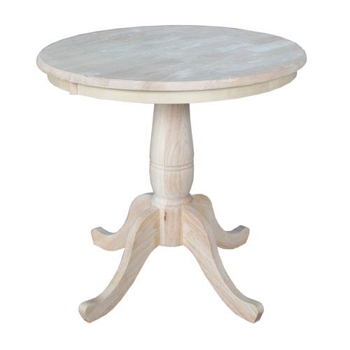 Unfinished 30-Inch Round Pedestal Dining Table