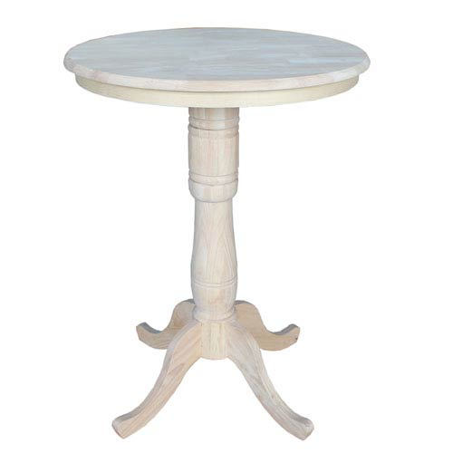 International Concepts Unfinished 30-Inch Round Pedestal Bar Height Table