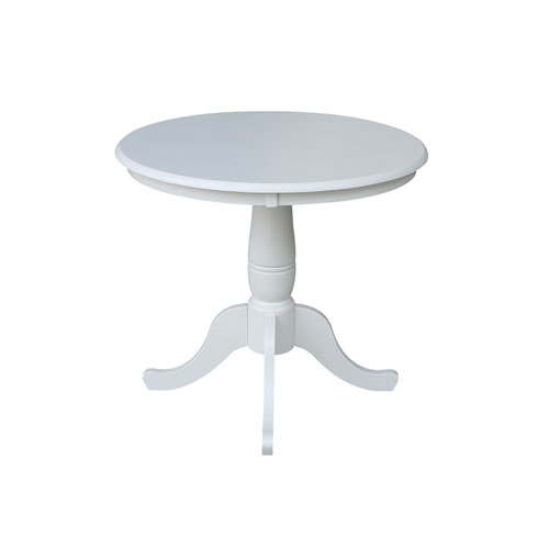 30-Inch Tall, 36-Inch Round Top Linen White Pedestal Dining Table
