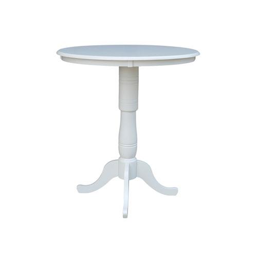 International Concepts 42 Inch Tall 36 Round Top Linen White Pedestal Pub