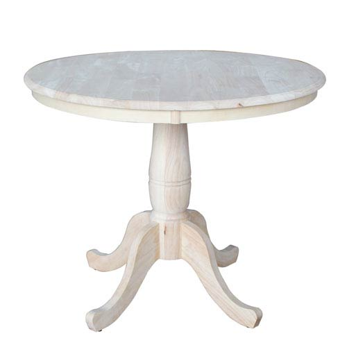 Unfinished 36-Inch Round Pedestal Dining Table