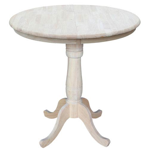 Unfinished 36-Inch Round Extension Counter Height Table with 12-Inch Leaf