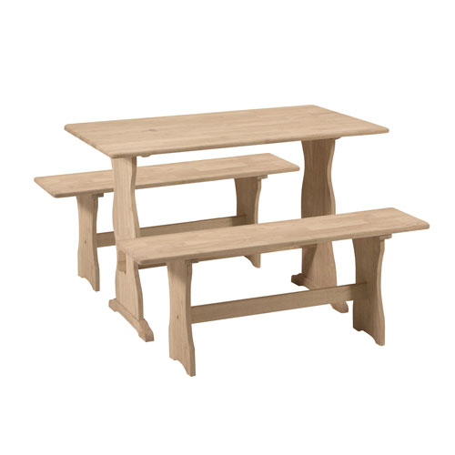 Dining Unfinished 36-Inch Wide Trestle Table with Two Benches
