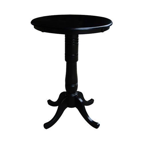 International Concepts 42-Inch Tall, 30-Inch Round Top Black Pedestal Pub Table