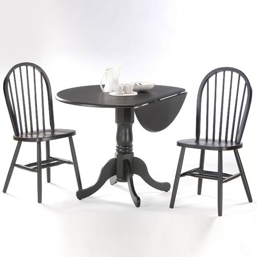 International Concepts Dining Essentials Black 42 Inch Dual Drop Leaf Dining Table with Two Windsor Chairs