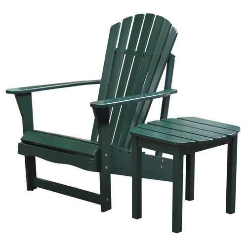 International Concepts Adirondack Hunter Green Chair with Side Table, Set of Two