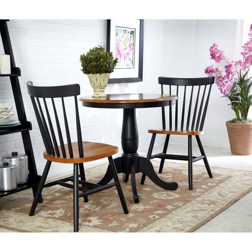 Black and Cherry 30-Inch Pedestal Table with Two Copenhagen Chairs
