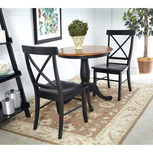 Black and Cherry 30-Inch Pedestal Table with Two X-Back Chairs