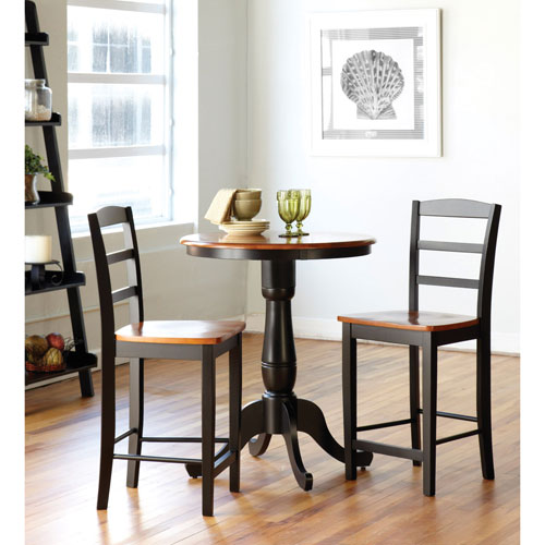 International Concepts Black and Cherry 30-Inch Pedestal Bar Height Table with Madrid Stools
