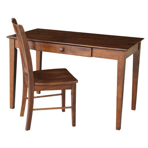 International Concepts Espresso Desk with Drawer and Chair 52-Inch