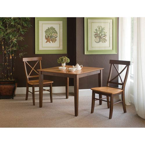 Cinnamon And Espresso 36 x 36-Inch Three Piece Dining Set with X-Back Chair