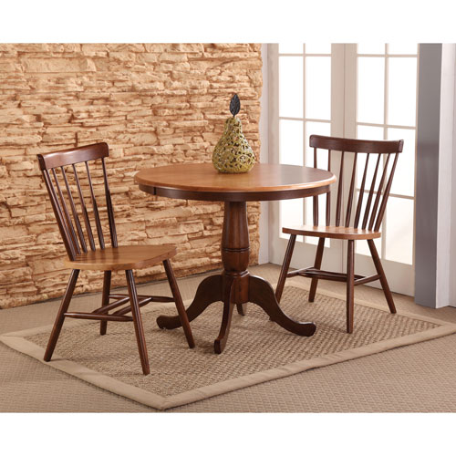 International Concepts Cinnamon And Espresso 36-Inch Round Pedestal Three Piece Table Set