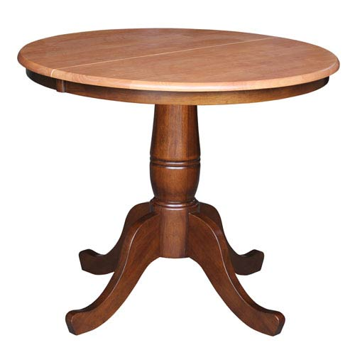 Cinnamon And Espresso 36-Inch Round Pedestal Dining Table