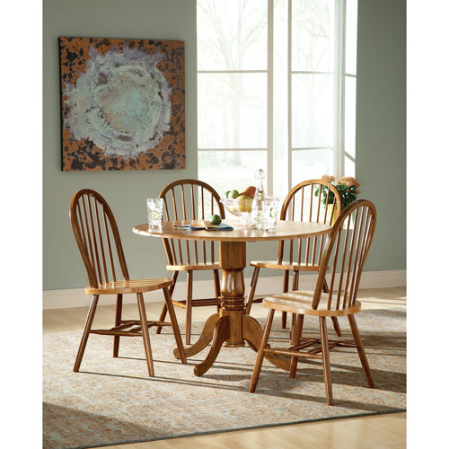 Dining Essentials Cinnamon and Espresso 42 Inch Dual Drop Leaf Dining Table with Four Windsor Chairs